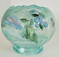 Fenton Hand Painted Winter Wonderland On Aquamarine Rose Bowl Signed P. Fleck