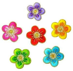 Flowers Embroidered patches 1 7/8 inch across select color