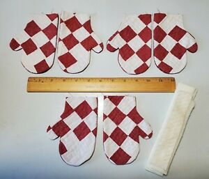 Vintage Cutter Quilt Mittens 3 Pair You Finish Ornaments Bowl Fillers Tucks