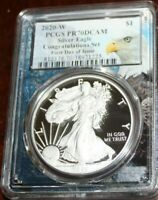2020 W PCGS PR70 DCAM ASE Congratulations First Day of Issue Bald Eagle Core
