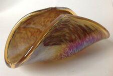 Murano Art Glass Folded Dish  Amber Iridato w Brown Frit Unsigned Iridescent