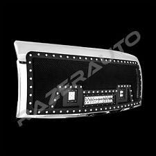 09-14 Ford F150 Rivet Black SS Mesh Grille+Chrome Shell+2x LED+1x LED Light Bar