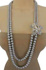Women Light Blue Imitation Pearl Beads Long Fashion Necklace Silver Flower Charm