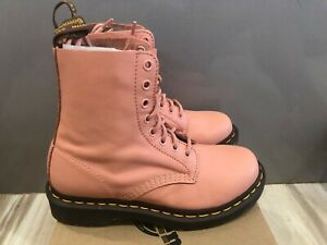 New Women's Dr. Doc Martens 1460 Pascal Virginia Salmon Pink Leather Boots Sz 6