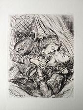 LUC ALBERT MOREAU Gravure eau forte original etching nude art deco curiosa 1940