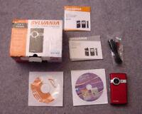 Sylvania Digital Video Camera DV-2100 In Box 2 In 1 Camera Red EUC complete