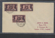 Tangier , Morocco 3 coronation stamps on cover 1937 Kl0412