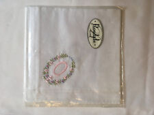 Monogrammed Handkerchief with pink letter O in floral wreath. new in packet