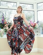 STUNNING NEW *MONSOON* RED, WHITE, BLUE MIX BOHO HANKY HEM PATCHWORK DRESS 14