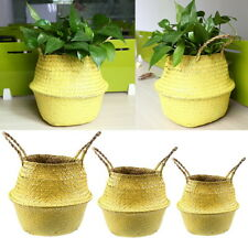 Handmade Seagrass Woven Foldable Basket Clothes Storage Case Flower Plant Pot