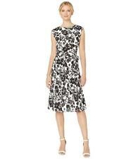 MSRP $155 LAUREN Ralph Lauren Floral Fit and Flare Dress Silk White Size 16