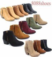 Women's Cute  Almond Toe Zipper Stacked Heel Ankle Bootie Shoes Size 5.5 -11 NEW