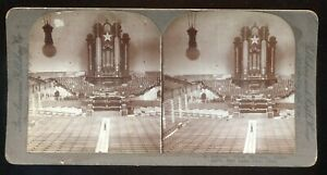Pan American Hand-colored Stereoview Mormon Tabernacle Interior #31 ~1890s
