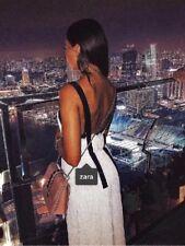 Zara Beige Larga Plisada Vestido Talla M