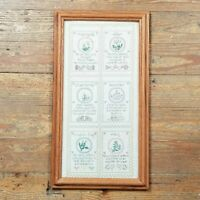 Vtg Embroidered Handmade Needlepoint Herb Sampler Wood Framed Hanging Wall Art
