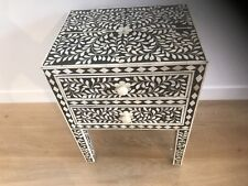 New. Stunning Bone Inlay Bedside Table. FREE Melbourne Metro Delivery.