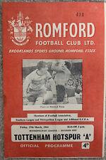 More details for romford v tottenham/spurs 'a' metropolitan league 1963/64