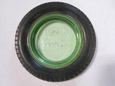 1920's Kelly Springfield Heavy Duty Tire, Embossed Green Glass  Ashtray