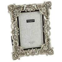 """Antique Silver Ornate Floral Resin Photo Frame with Crystals - 4"""" x 6"""""""