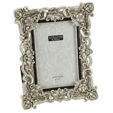 "Antique Silver Ornate Floral Resin Photo Frame with Crystals - 4"" x 6"""