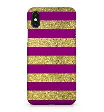 Purple Golden Multi Coloured Stripes Abstract Pattern Design Phone Case Cover