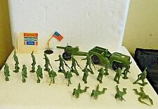 Vintage Tim-Mee Toy's Military Jeep, Canon, 21 Soldiers, Flag Pole & Stickers