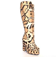L-3510237 New Gucci Leopard Print Malaga Knee High Boot Size US-7.5 Marked-37.5