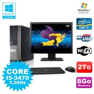 Lot PC Dell 7010 SFF Core I5-3470 3.2GHz 8Go 2000Go DVD Wifi W7 + Ecran 19