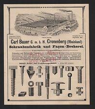 CRONENBERG, Anzeige 1909, Carl Bauer GmbH Schrauben-Fabrik Facon-Dreherei
