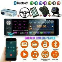 1 DIN Car Stereo Radio RDS Bluetooth FM USB + RV Camera Touch MP5 Player 4.1""