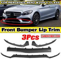 Carbon Fiber Look Front Bumper Lip Splitter For Mercedes W205 C300 C400 C63 AMG
