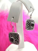 "VINTAGE DANGLING 5/8"" SQUARE ONYX ESTATE 925 STERLING SILVER WIRE EARRINGS"