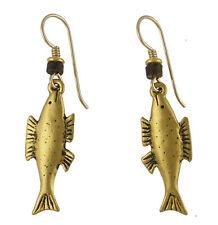 *NEW* ~ Laurel Burch FISH Antiqued Gold Cast Earrings ~