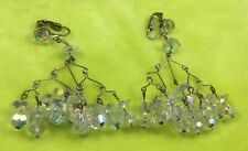 Vintage Austrian Crystal Earrings Aurora Borealis Glass Chandelier Asian Clip On