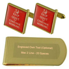 Ussr Soviet Text Gold-Tone Cufflinks Money Clip Engraved Gift Set