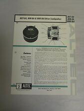Vtg Original Altec 807-8A, 808-8A, 808-16A Driver Loudspeaker Spec Sheet (A3)