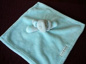 Blankets & Beyond Gray Elephant Mint Green /Aqua Velour Security EUC
