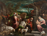 Adoration of Jesus Christ 3 Wise Men Christian Fine Art Real Canvas Print New
