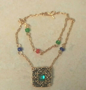 NECKLACE Franklin Mint Guinevere pendant 15-16in fashion doll jewelry Medieval