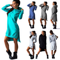 Women Hooded Winter Sweatshirt Long Sleeve Maxi Hoodie Dress Jumper Sweater Tops