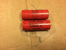 2 Nos Vintage Planet 200 uf 150v Capacitors 1964 Tube Amp Axial Caps