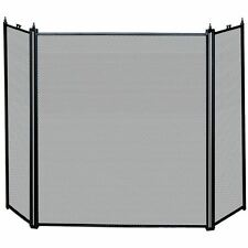 Fire Screen Black 3 Panel Guard Fireside Fireplace Freestanding By Home Discount