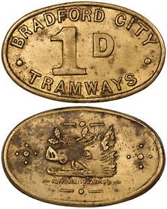 1898 Bradford City Tramways Brass 1d Ticket / Pass ~ Boar's Head by Fattorini