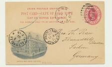 "CAPE OF GOOD HOPE TO GERMAN 1900, CLARKSON TO SACHSEN, "" GPO CAPE TOWN"" 1d CARD"