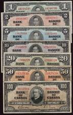1937 Bank of Canada $1 $2 $5 $10 $20 $50 $100 7-notes Gordon F15 or better