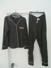 NEW NEW DKNY Black & White L 2 pc Pajama set LS Button Top V Neck & Bottom $74