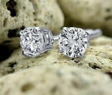 1.0 Ct Round Cut Lab Diamond Stud Earrings 14k White Gold Screwback 5mm Gift