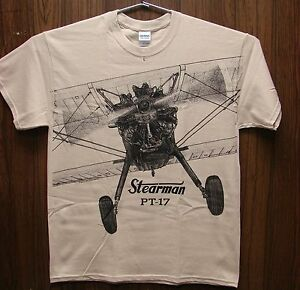 Stearman PT-17 Airplane T-shirt with HUGE print on front and back -- Sand (tan)