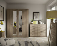 Ready Assembled Medina Bardolino Oak Wardrobe Drawer Complete Bedroom Furniture