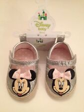 Disney Minnie Mouse Baby Girl Crib Shoes Size 3-6 Months Glitter Silver